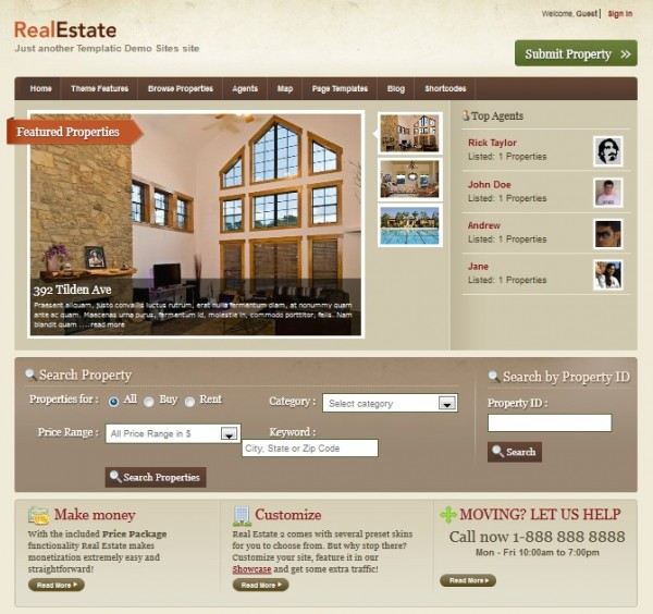 RealEstate2 wordpress theme